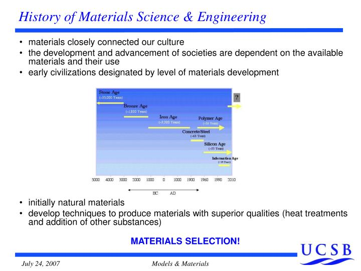History of materials science engineering