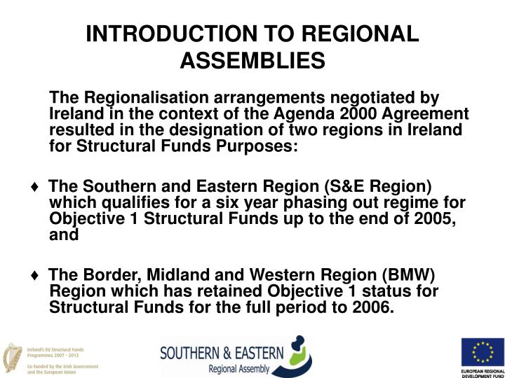Introduction to regional assemblies