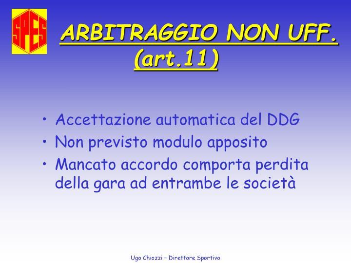 ARBITRAGGIO NON UFF.