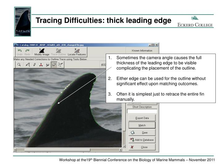 Tracing Difficulties: thick leading edge