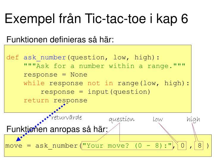 Exempel från Tic-tac-toe i kap 6