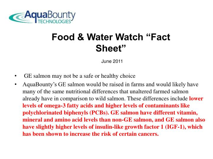 GE salmon may not be a safe or healthy choice