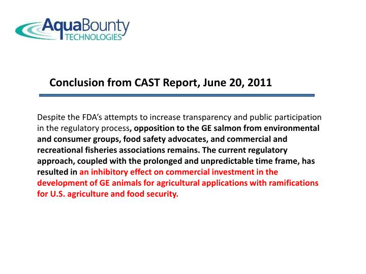 Conclusion from CAST Report, June 20, 2011