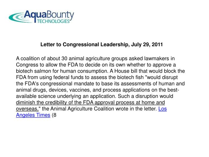 Letter to Congressional Leadership, July 29, 2011