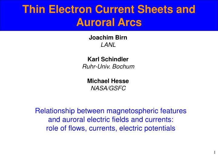 thin electron current sheets and auroral arcs n.
