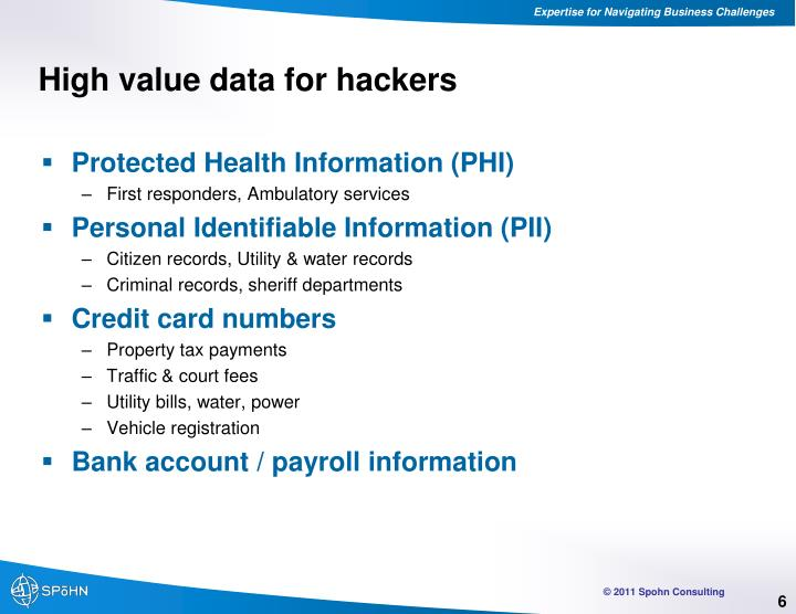 High value data for hackers