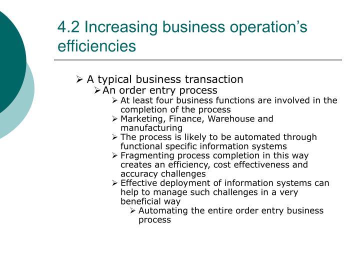 4.2 Increasing business operation's efficiencies