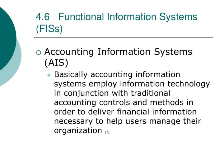 4.6Functional Information Systems (FISs)