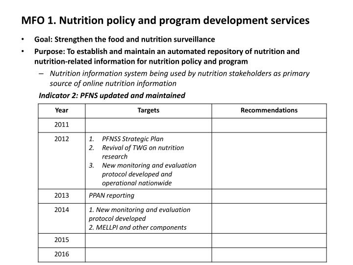 Mfo 1 nutrition policy and program development services1