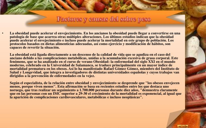 Factores y causas del sobre peso