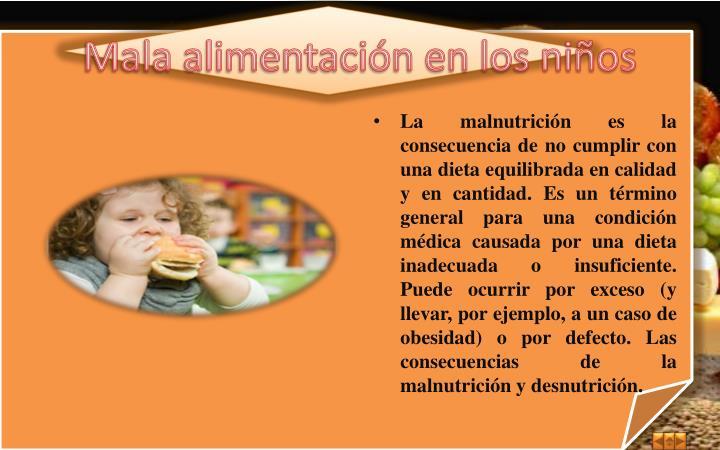 Mala alimentación en los niños