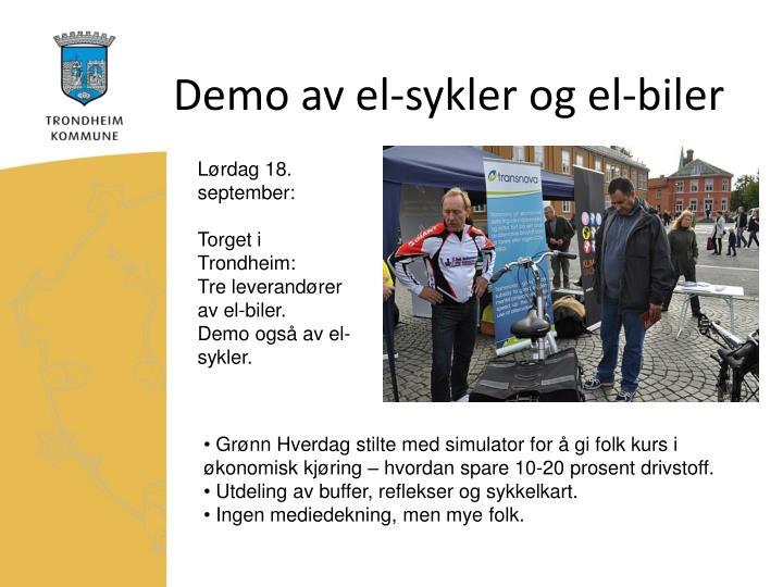 Demo av el-sykler og el-biler