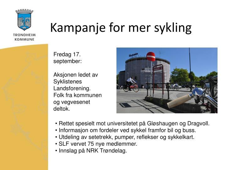 Kampanje for mer sykling