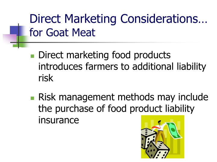 Direct Marketing Considerations…