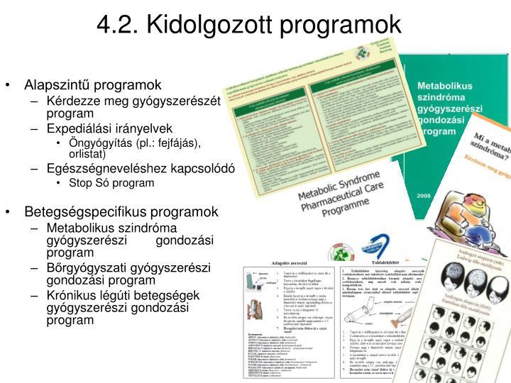 4.2. Kidolgozott programok