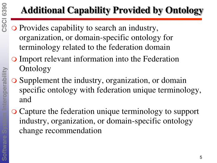 Additional Capability Provided by Ontology