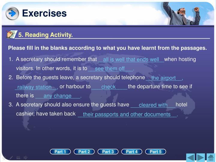 5. Reading Activity.