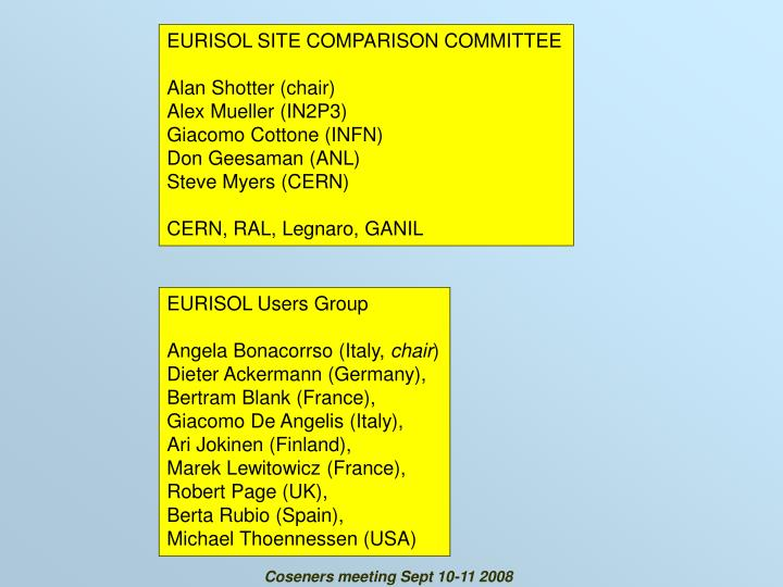 EURISOL SITE COMPARISON COMMITTEE
