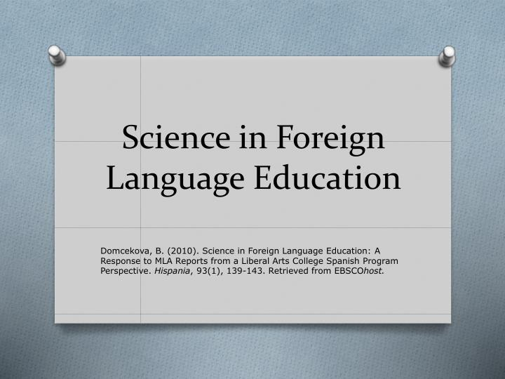 science in foreign language education n.