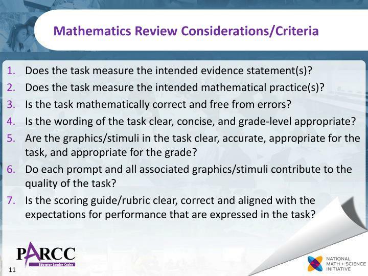 Mathematics Review Considerations/Criteria