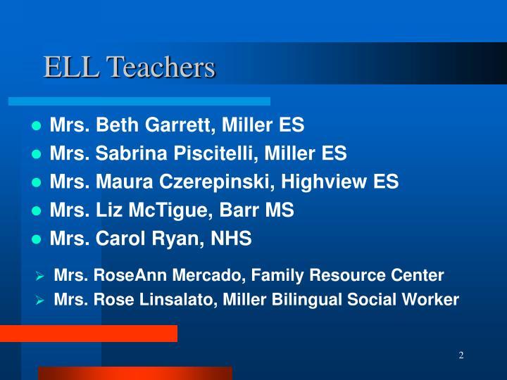 Ell teachers