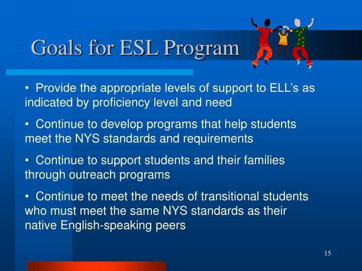 Goals for ESL Program