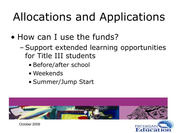 Allocations and Applications