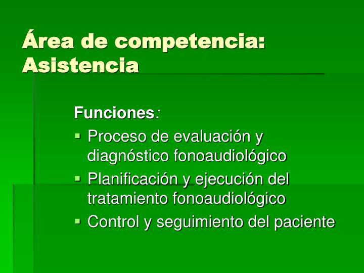 Área de competencia:  Asistencia