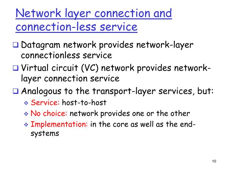 Network layer connection and connection-less service