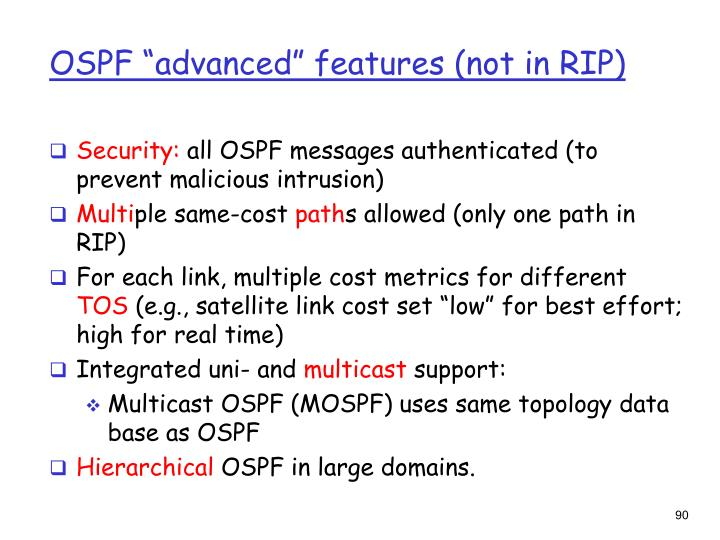 """OSPF """"advanced"""" features (not in RIP)"""