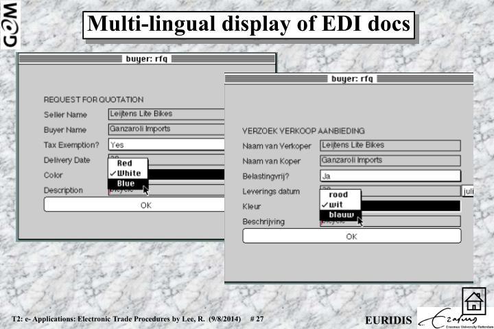 Multi-lingual display of EDI docs