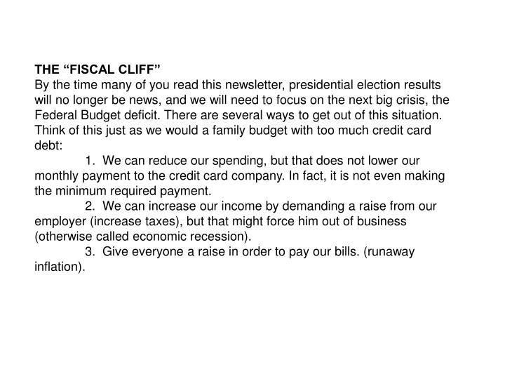 """THE """"FISCAL CLIFF"""""""