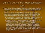 union s duty of fair representation cont