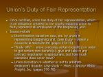 union s duty of fair representation