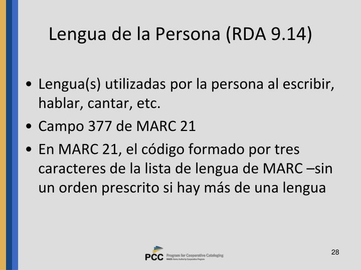 Lengua de la Persona (RDA 9.14)