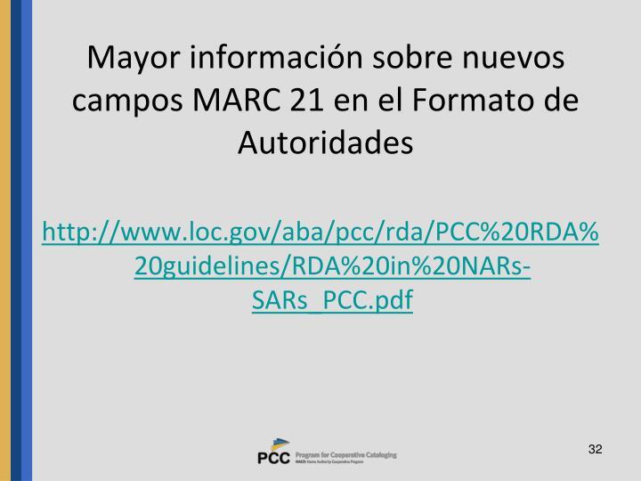 Mayor información sobre nuevos campos MARC 21 en el Formato de Autoridades