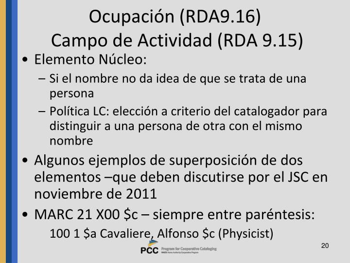 Ocupación (RDA9.16)