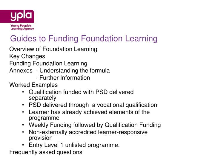 Guides to Funding Foundation Learning
