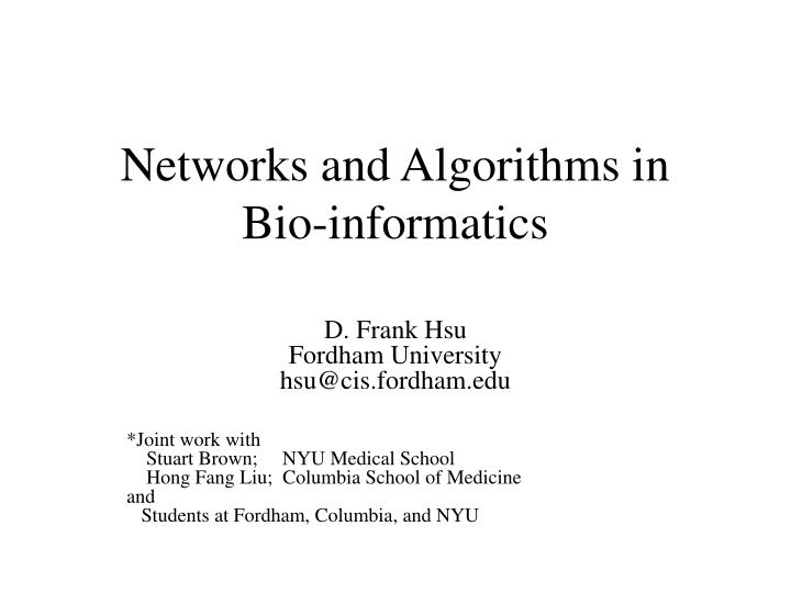 Networks and Algorithms in