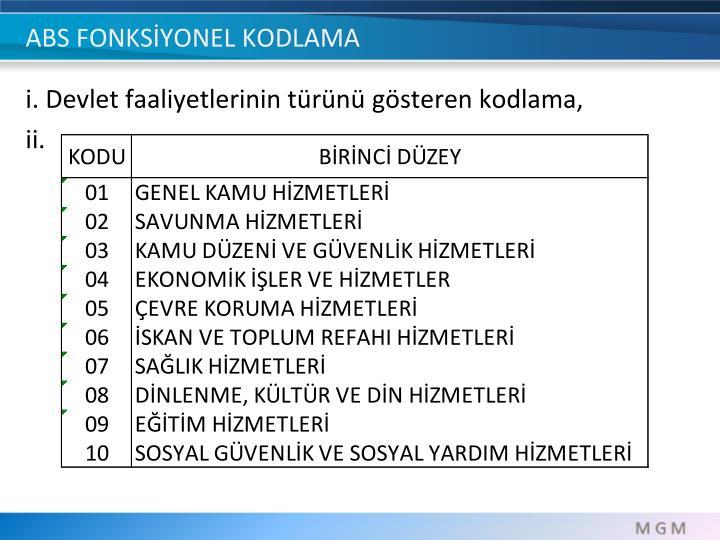 ABS FONKSİYONEL KODLAMA