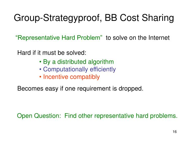 Group-Strategyproof, BB Cost Sharing