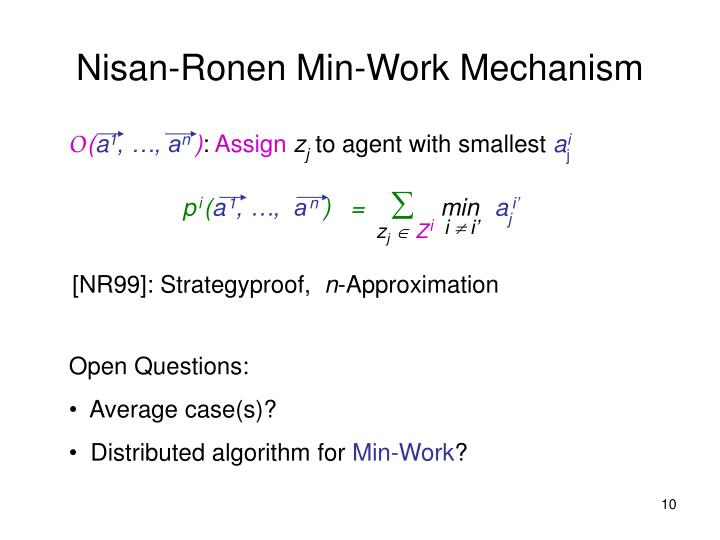Nisan-Ronen Min-Work Mechanism