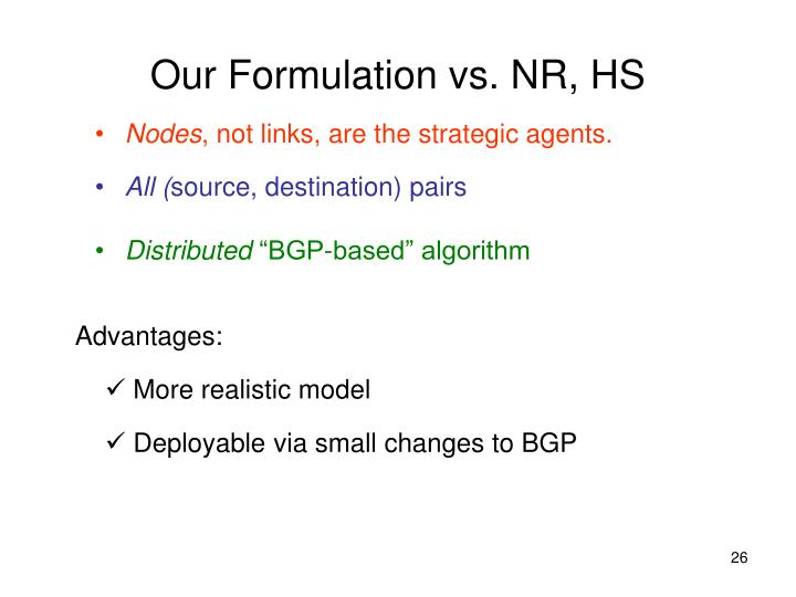 Our Formulation vs. NR, HS