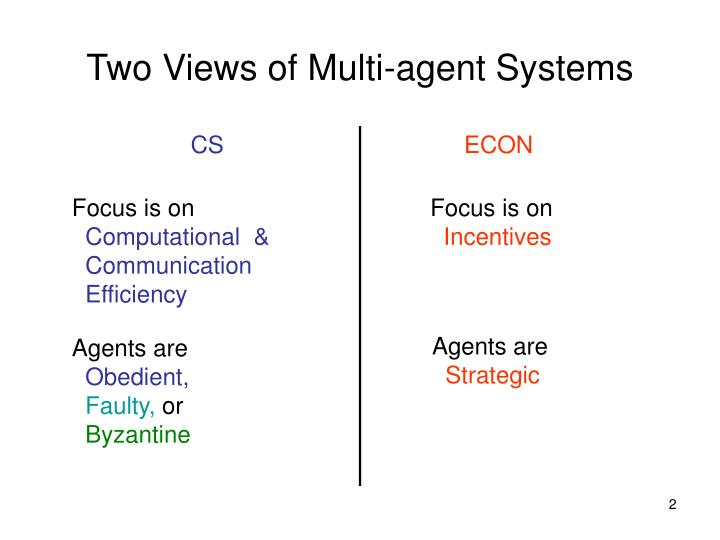 Two views of multi agent systems