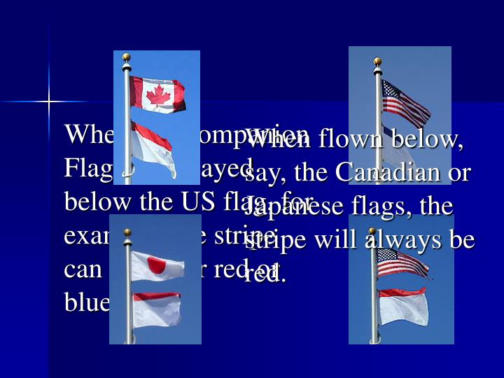 When flown below, say, the Canadian or Japanese flags, the stripe will always be red.