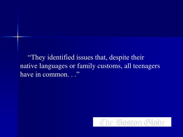 """""""They identified issues that, despite their native languages or family customs, all teenagers have in common. . ."""""""