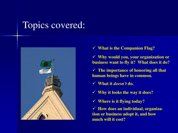 Topics covered: