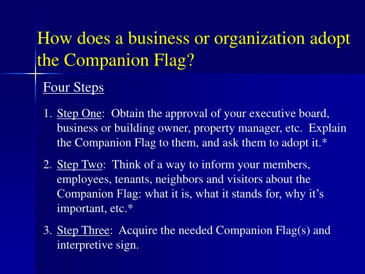 How does a business or organization adopt the Companion Flag?