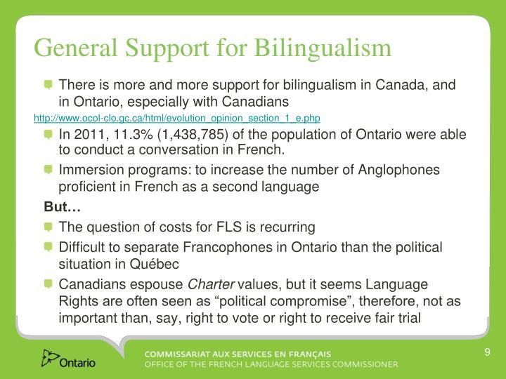 General Support for Bilingualism