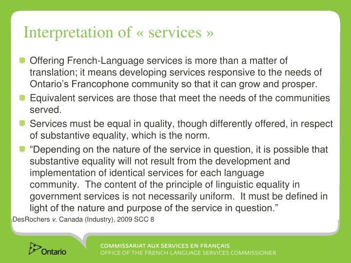 Interpretation of «services»